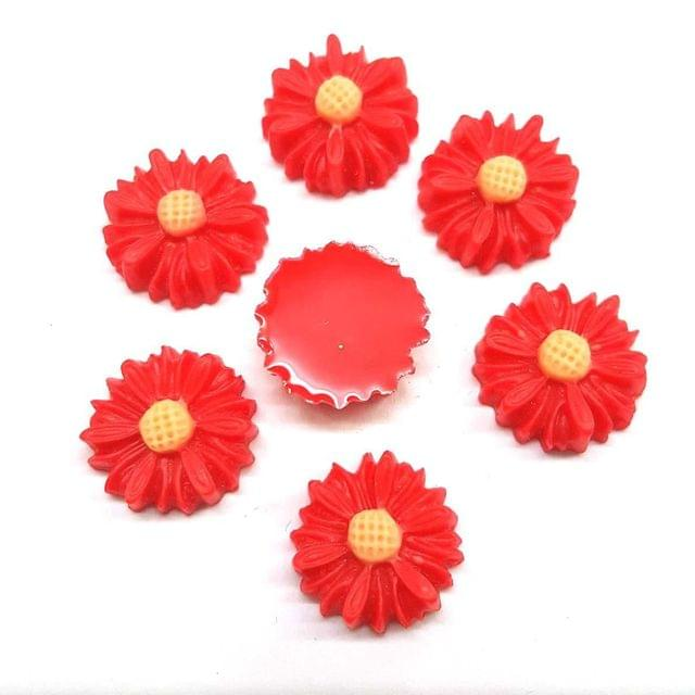 Red, Acrylic Flowers 13mm, 50 Pieces