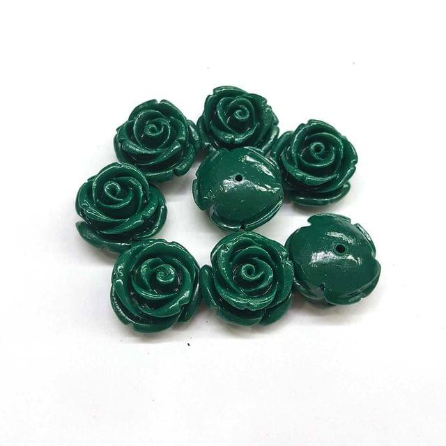 Green, Acrylic Flower 16mm, 20 Pieces
