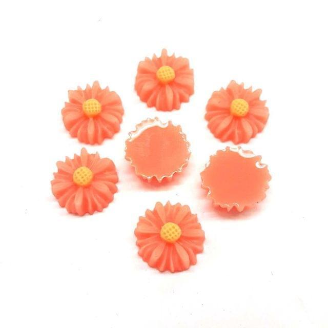 Peach, Acrylic Flower 13mm, 50 Pieces