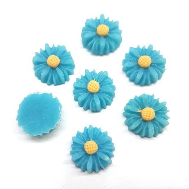 Blue, Acrylic Flower 13mm, 50 Pieces