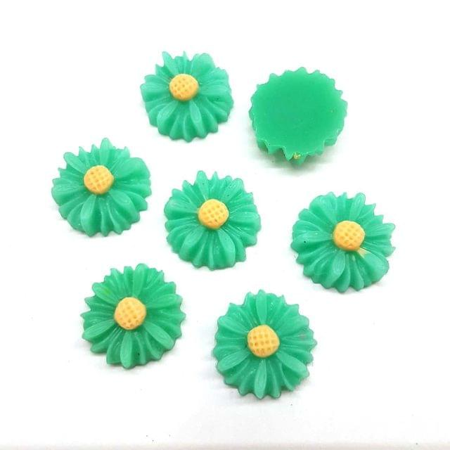 Green, Acrylic Flower 13mm, 50 Pieces