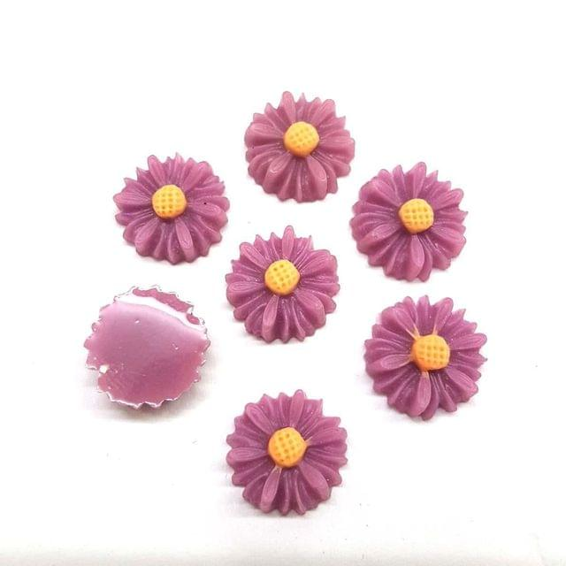 Purple, Acrylic Flower 13mm, 50 Pieces