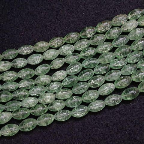 4 Lines, 16x10 mm Light Green Color Glass Beads For Jewellery Making/ 15 Inch/ 22+ Beads in Each String
