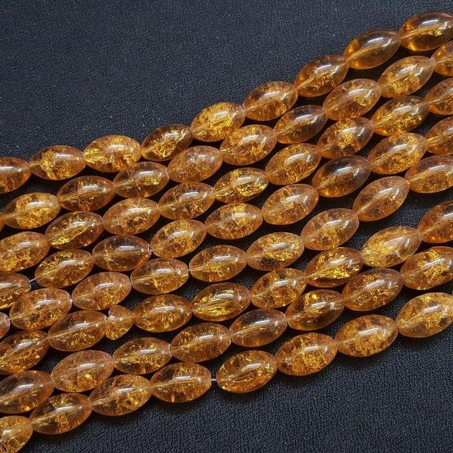 4 Lines, 16x10 mm Dark Golden Color Glass Beads For Jewellery Making/ 15 Inch/ 22+ Beads in Each String
