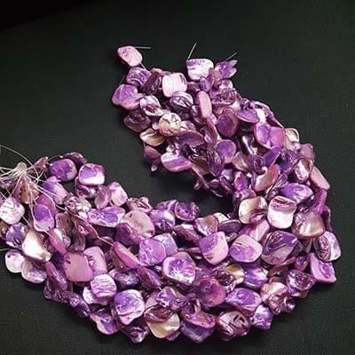 Purple Assorted Mother Of Pearl, Pack Of 4 Strings