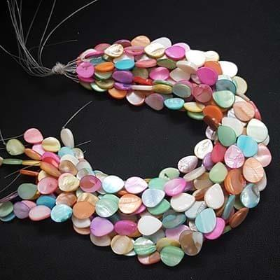 Multicolor Assorted Flat Drop Design Mother Of Pearl, Pack Of 4 Strings