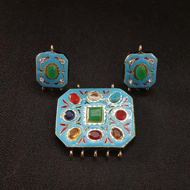 Traditional Turquoise Navratna Pendant With Combo Earring, Pendant- 1.5 inch, Earring- 1 inch