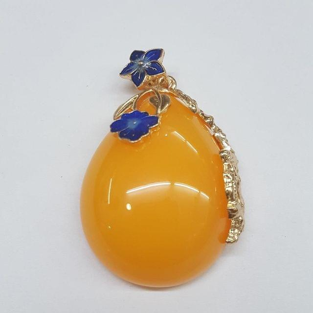 Yellow Colored Pan Pendant With Blue Flower Design