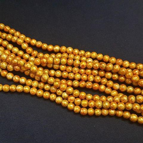 5 Lines, 8 mm Golden Color Glass Beads For Jewellery Making/ 16 Inch/ 52+ Beads in Each String