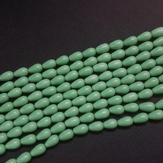 4 Lines, 8 mm Sea Green Color Glass Beads For Jewellery Making/ 16 Inch/ 31+ Beads in Each String