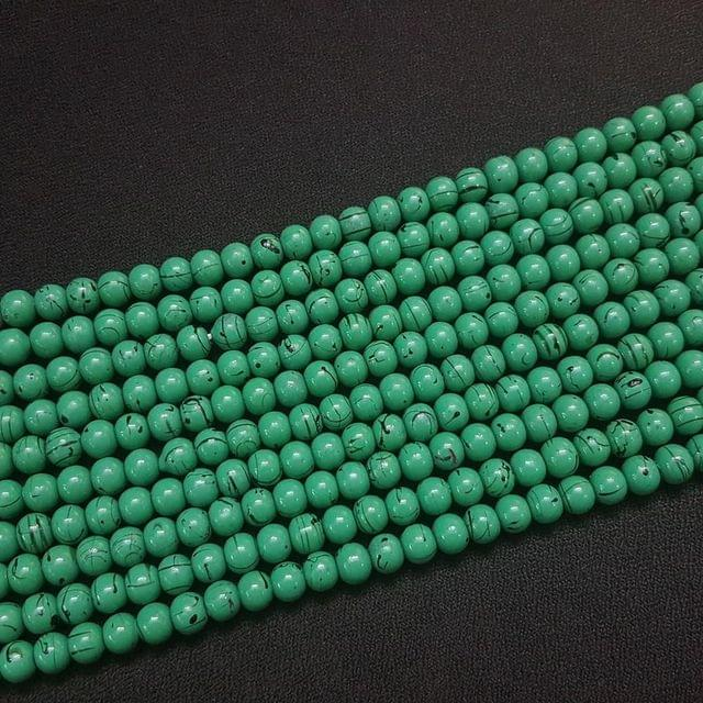 5 Lines, 6 mm Green Color Glass Beads For Jewellery Making/ 15 Inch/ 63+ Beads in Each String
