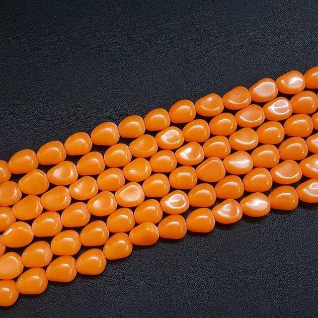 4 Lines, 11 mm Orange Color Glass Beads For Jewellery Making/ 15 Inch/ 21+ Beads in Each String