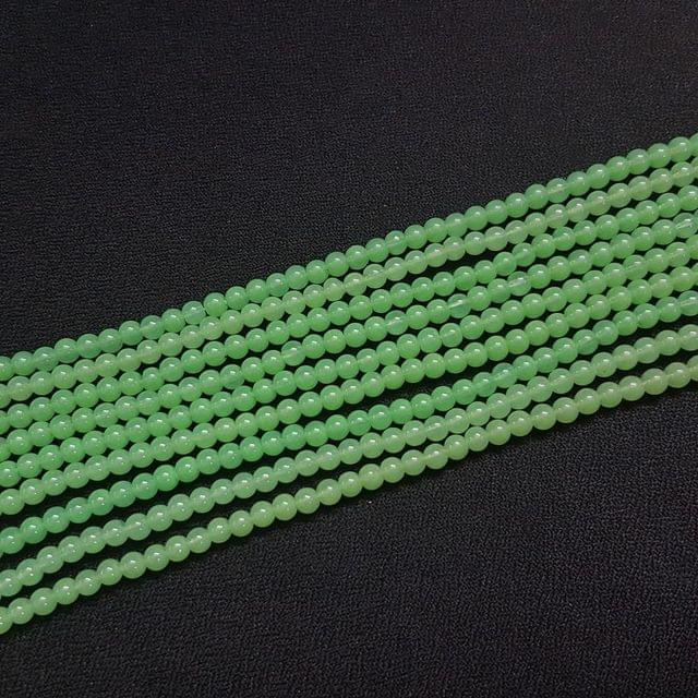 10 Lines, 4 mm Sea Green Color Glass Beads For Jewellery Making/ 16 Inch/ 101+ Beads in Each String