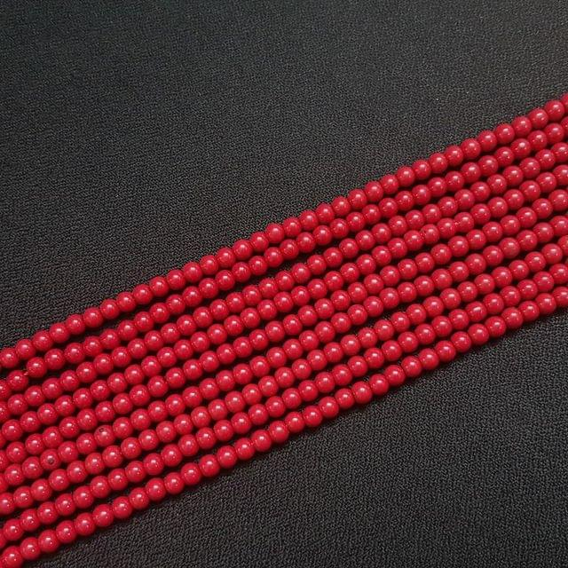 10 Lines, 4 mm Red Color Glass Beads For Jewellery Making/ 16 Inch/ 101+ Beads in Each String