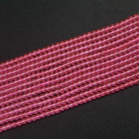 10 Lines, 4 mm Pink Color Glass Beads For Jewellery Making/ 16.5 Inch/ 104+ Beads in Each String