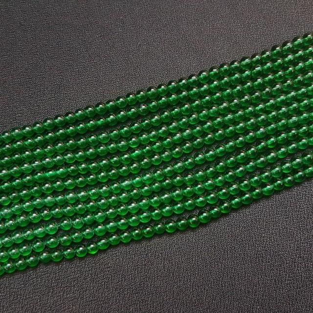 10 Lines, 4 mm Green Color Glass Beads For Jewellery Making/ 16.5 Inch/ 104+ Beads in Each String