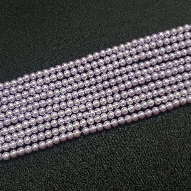 10 Lines, 4 mm Light Purple Color Glass Beads For Jewellery Making/ 16 Inch/ 101+ Beads in Each String