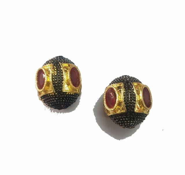 15x16 mm, Maroon Antique Piece, 1 pair