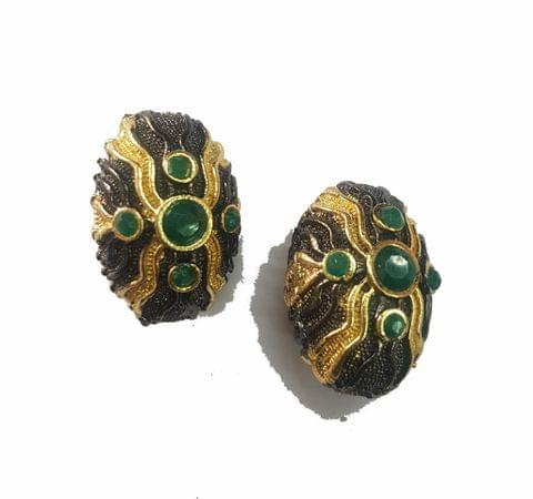 19x26 mm, Green Antique Piece, 1 pair