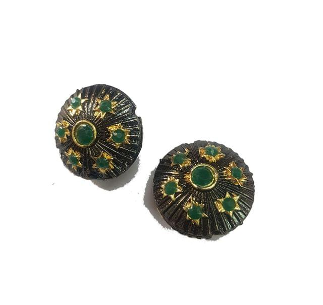 20 mm, Green Antique Piece, 1 pair