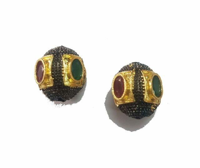 15x16 mm, Maroon Green Antique Piece, 1 pair