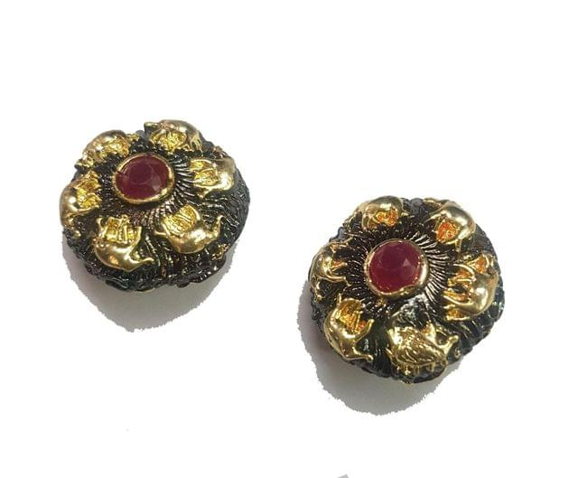 21x21 mm, Maroon Antique Piece, 1 pair