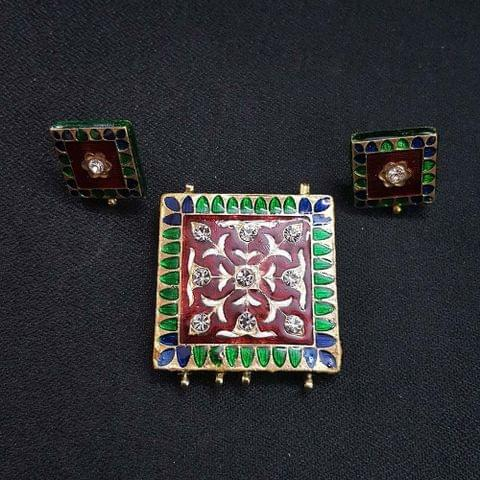 Traditional Maroon Meenakari Pendant With Combo Earring, Pendant- 1.75 inch, Earring- 0.75 inch