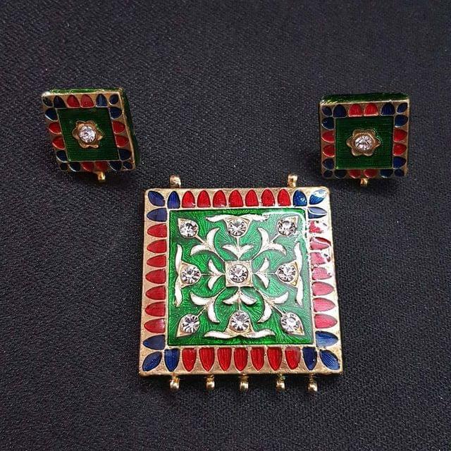 Traditional Green Meenakari Pendant With Combo Earring, Pendant- 1.75 inch, Earring- 0.75 inch