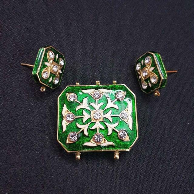 Traditional Green Meenakari Pendant With Combo Earring, Pendant- 1.5 inch, Earring- 1 inch