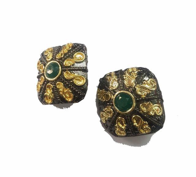 20x20 mm, Green Antique Piece, 1 pair