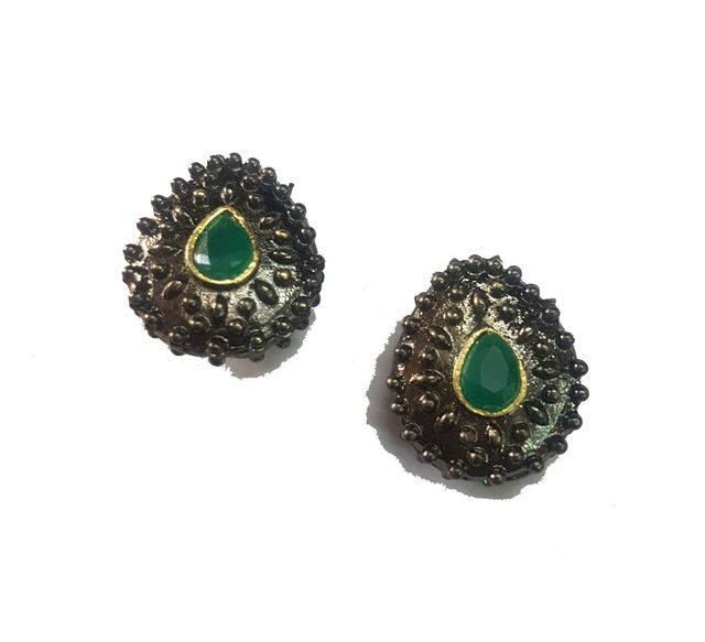19x21 mm, Green Antique Piece, 1 pair