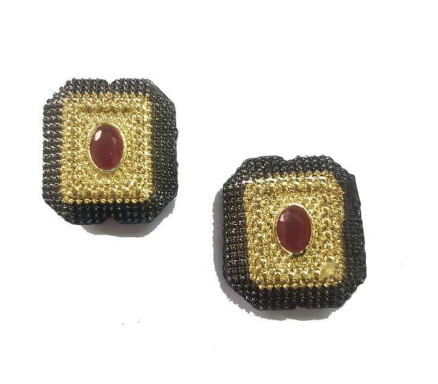 18x20 mm, Red Antique Pieces, 1 pair