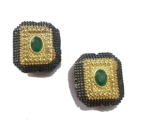 18x20 mm, Green Antique Pieces, 1 pair