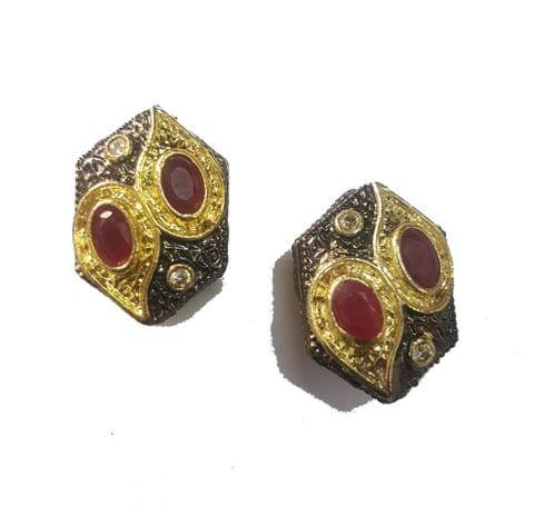 15x22 mm, Maroon Antique Pieces, 1 pair