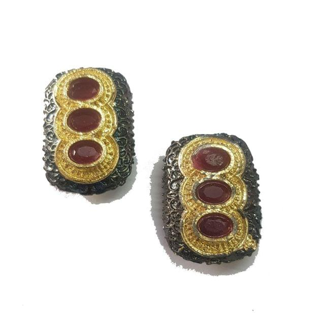 12x24 mm, Maroon Antique Pieces, 1 pair