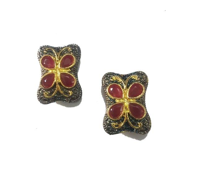 13x21 mm, Maroon Antique Piece, 1 pair