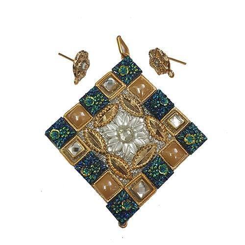 Golden Blue, Takkar Pendant With Combo Earring