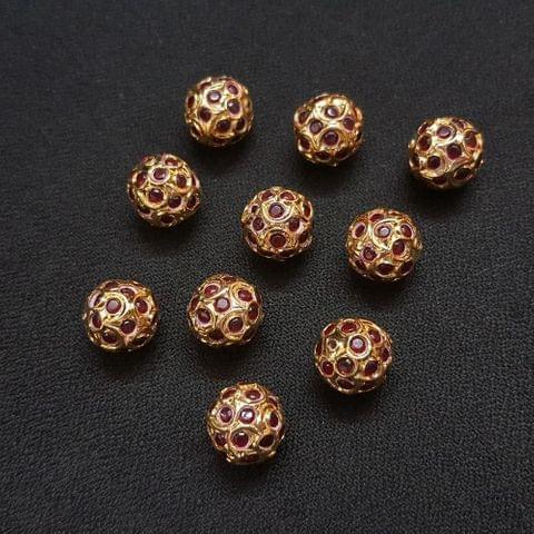 Maroon Jadau Ball 12 mm, 10 Pieces