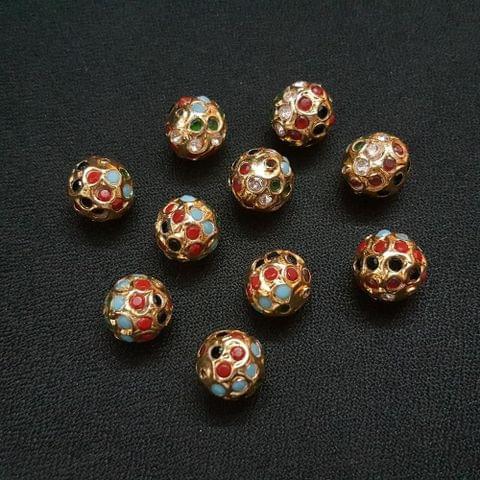 Navratana Jadau Ball 12 mm, 10 Pieces
