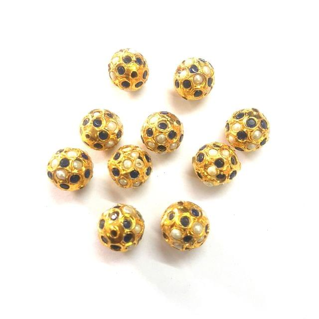 Blue And Moti, Jadau Ball 12 mm, 10 Pieces