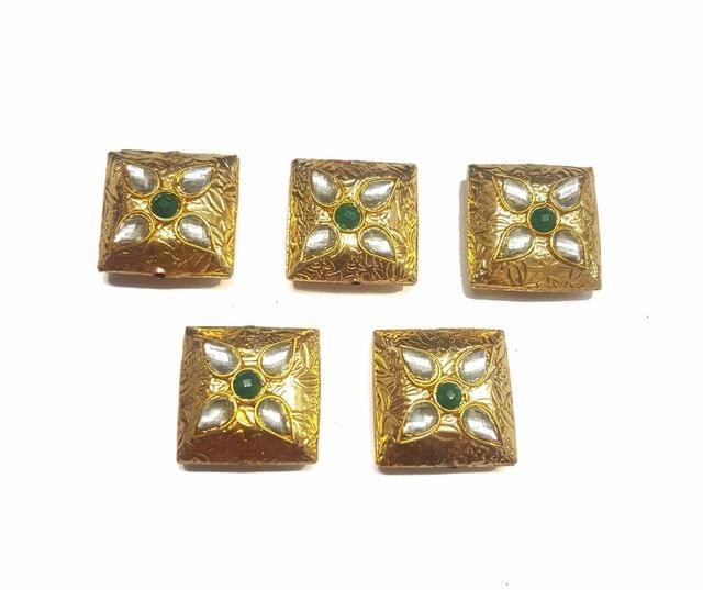 Green Square Shaped Gold Polished Kundan Beads 22x22 mm, 5 pcs