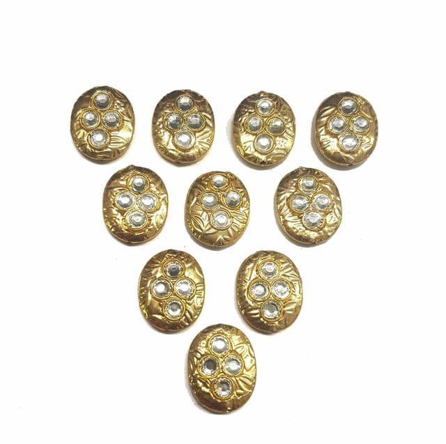 White Oval Shaped Gold Polished Kundan Beads 19x16 mm, 10 pcs