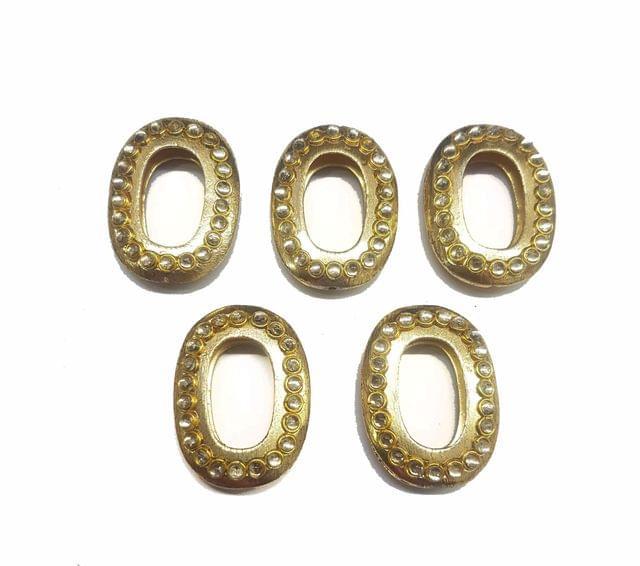 White Oval Shaped Gold Polished Kundan Beads 30x22mm, 5 pcs