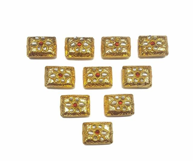 Red Rectangle Shaped Gold Polished Kundan Beads 19x14 mm, 10 pcs