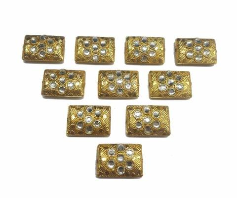 White Rectangle Shaped Gold Polished Kundan Beads 23x16 mm, 10 pcs