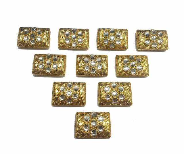 White Rectangle Shaped Gold Polished Kundan Beads 23x16 mm, 10 pcs