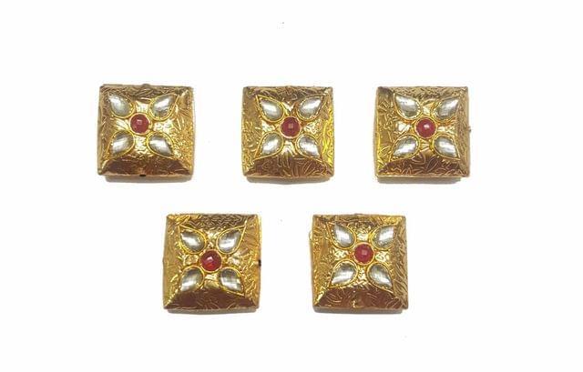 Red Square Shaped Gold Polished Kundan Beads 22x22 mm, 5 pcs