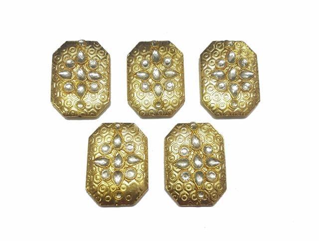 White Octagon Shaped Gold Polished Kundan Beads 35x25 mm, 5 pcs