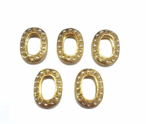 White Oval Shaped Gold Polished Kundan Beads 36x27, 5 pcs