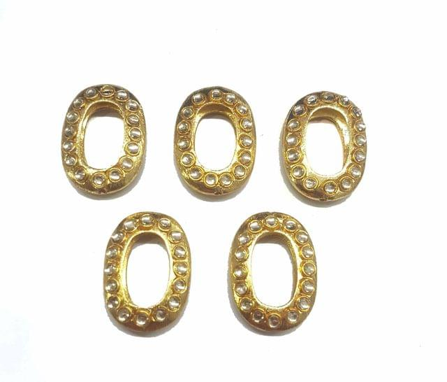 White Oval Shaped Gold Polished Kundan Beads 36x27, 5 pcs